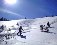 山頂直下の広い斜面を滑ります。