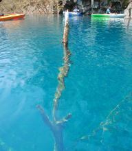 カヌーだから、青く透き通った湖面がこんなに近い!