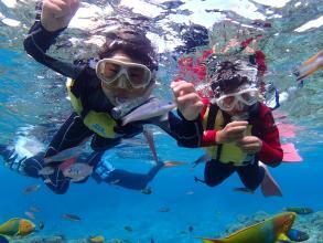 水納島・瀬底島周辺ではボードシュノーケリング、本部エリアではビーチシュノーケリングが楽しめます!