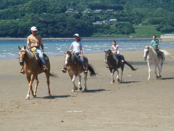 2kmに渡り続く砂浜、のんびりと穏やかな風景が広がる「千里ヶ浜ビーチ」を、馬に乗りトレッキング。