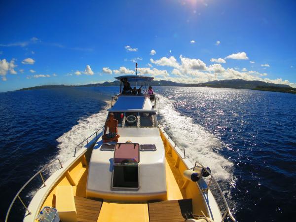 専用クルーザーでポイントまで約15分!本格的なボートシュノーケリングが人気!