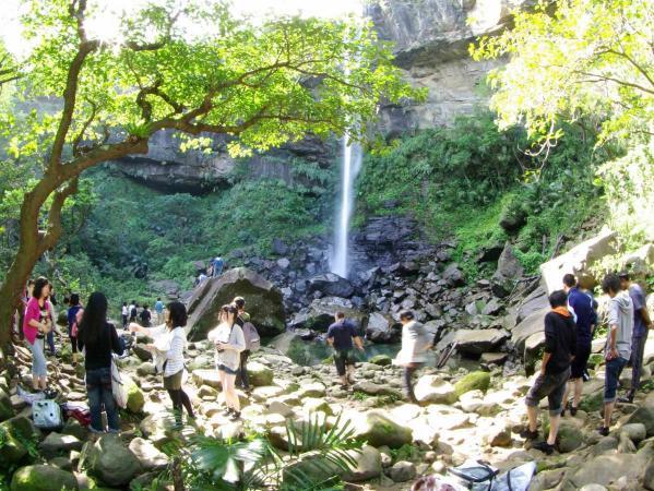 ジャングルの中、滝を目指すツアーも