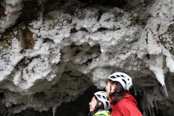 天井で輝く氷の結晶