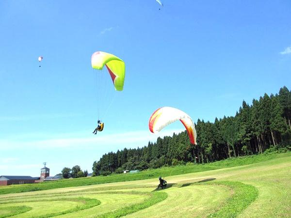 初心者も安心!!講習では、幅100m以上ある広大な芝生斜面を使用します。