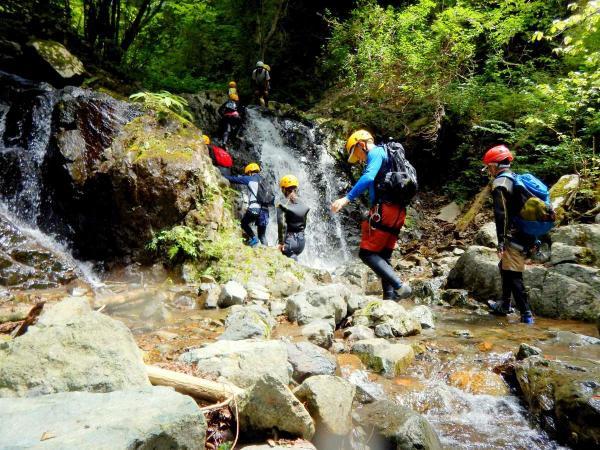 緑が豊富で、数々の滝が流れる沢を冒険。