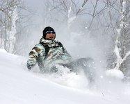 雪は自然のクッション!思いっきりジャンプしても楽しい!雪に埋まってまた楽しい!(スノーシューダウンヒル)