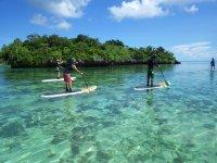 川平湾に浮かぶ琉球石灰岩でできた9つの無人島、その岩島の間をSUPクルージング!