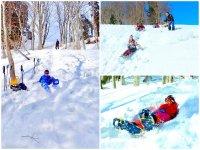 雪遊び満載!自然が作りあげたスライダーで遊びつくそう!ソリは無料で貸出しています。