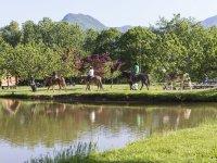 馬場を飛び出し、果樹園で乗馬体験!