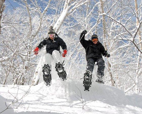 スノーシューだからできること!思い切って雪の中へダイブ!!きっとハマります。(スノーシューダウンヒル)