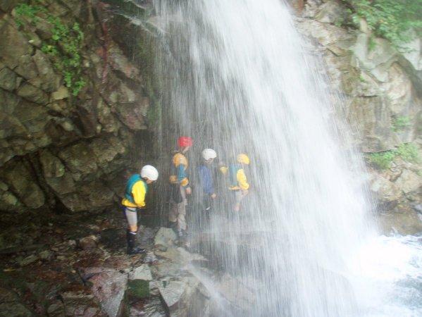 滝の裏側から流れに乗って水の中へジャンプ!