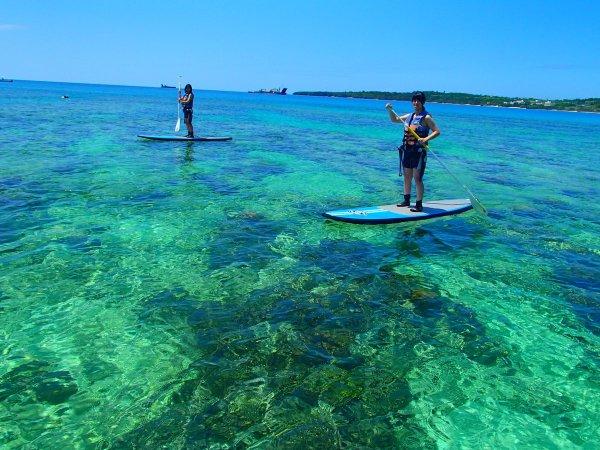 SUPの高い視点から見ると、サンゴが広がり魚が泳ぐ美しい恩納村の海中風景が楽しめる!