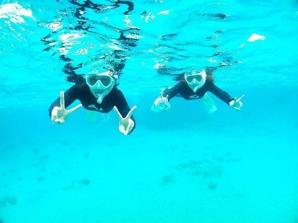 透明度の高い海でシュノーケリング体験