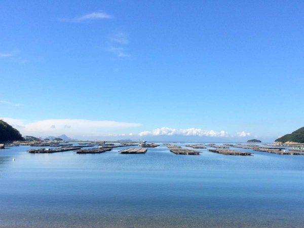 荒々しい岩壁やカキ筏、遠くに見える島々など、瀬戸内らしい景色が広がります。
