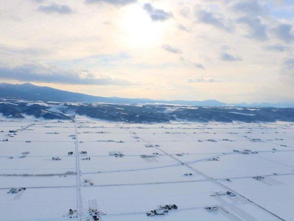 富良野の大地と美しい山並み。大スケールの景観が広がります