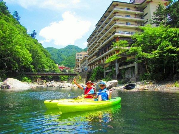 温泉街も近い、鬼怒川本流の小網ダム湖でカヤックを満喫!