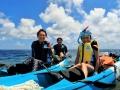 シーカヤックでツーリングしながら、新城海岸の沖約500mの【大サンゴ礁&海亀】ポイントまで行きアンカリング!アウトリーフ付近のサンゴ礁地帯で本格シュノーケリングを楽しみます!