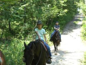 親子で楽しめる乗馬トレッキング!!小学3年生から参加できます。(※コースにより異なる)